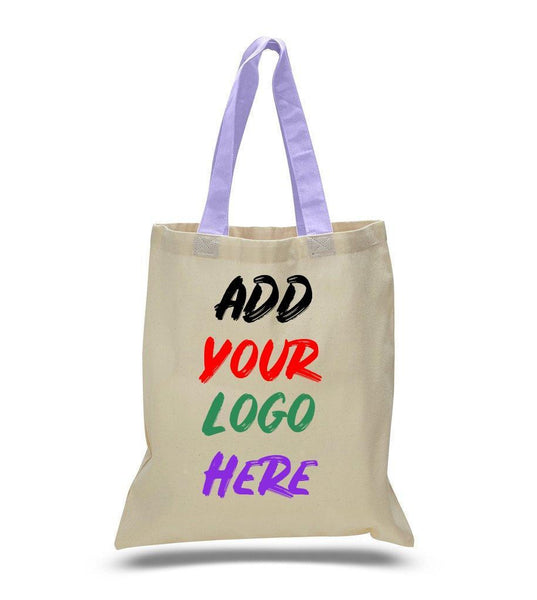 Print On Color Handles Cotton Tote Bags