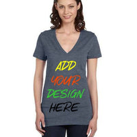 Custom Ladies' Jersey Short-Sleeve Deep V-Neck T‑Shirt Bella + Canvas