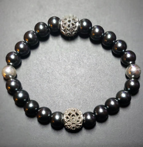 Silver-Gray Hematite w/Silver Accents Bracelet