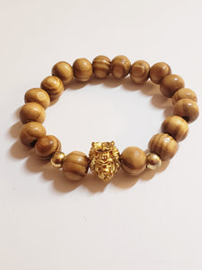 Wooden Crowned Lion Head Beaded Bracelets (Gold, Rose Gold, Silver)