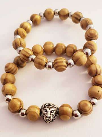 Wooden Silver Lion Head Bracelet Set
