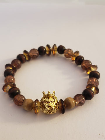 Round Beaded Bracelet w/Gold Crown Lion Head