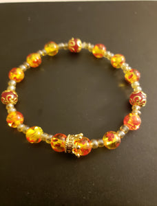 Elegant Yellow & Red Agate Bracelet w/Gold Crown
