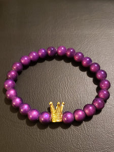 Royal Purple Beaded Bracelet w/Gold Crown