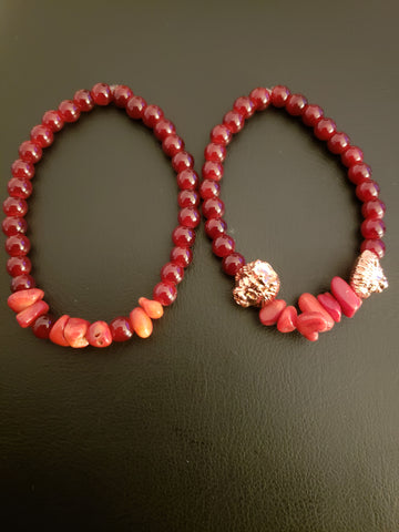 Red Glass & Dyed Bamboo Coral Chip Beaded Bracelet Set w/Lion Heads