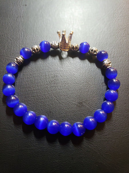 Royal Blue Semi-Precious Beaded Bracelet w/Silver Crown