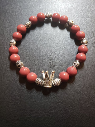 Red Beaded Bracelet w/Silver Crown Charm
