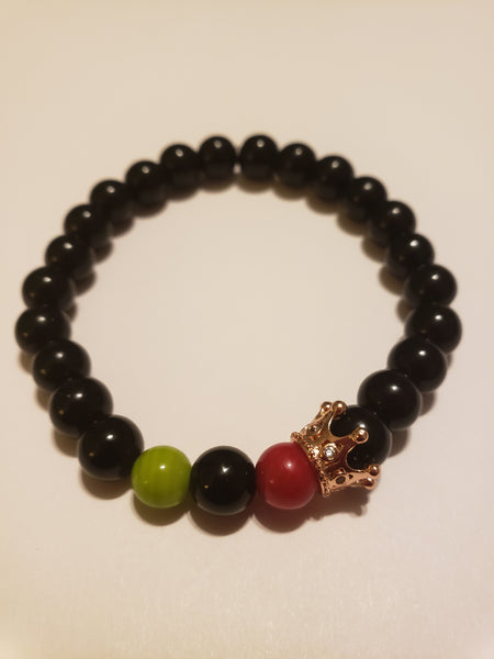 Onyx Beads w/Red, Black & Green & Gold Crown