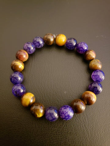 Tiger Eye & Purple Agate Beaded Bracelet