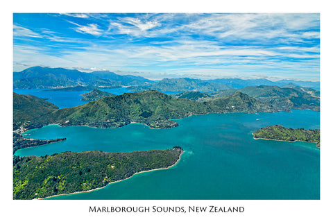 023 - Post Art Postcard - Marlborough Sounds Aerial