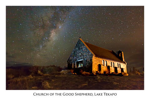 167 - Post Art Postcard - Milky Way with Church Tekapo