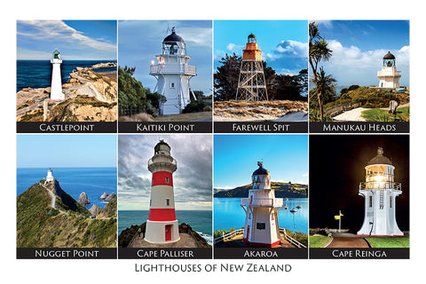 177 - Post Art Postcard - NZ Light Houses