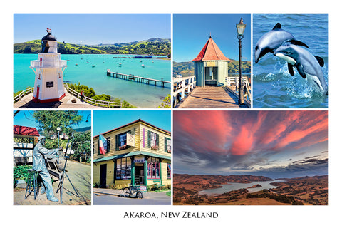 189 - Post Art Postcard - Akaroa Composite