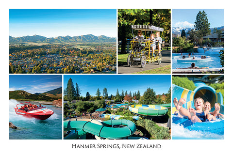 213 - Post Art Postcard - Hanmer Springs Composite
