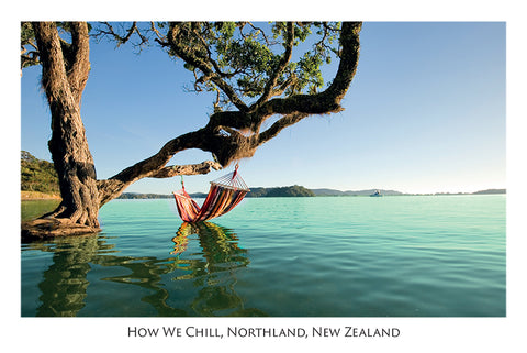 524 - Post Art Postcard - How we chill, Northland