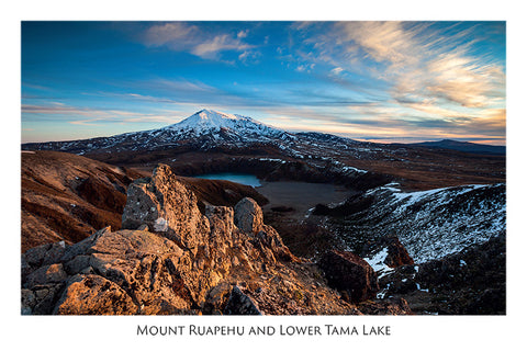 545 - Post Art Postcard - Mount Ruapehu and Lower Tama Lake