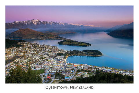 557 - Post Art Postcard - Queenstown from Skyline