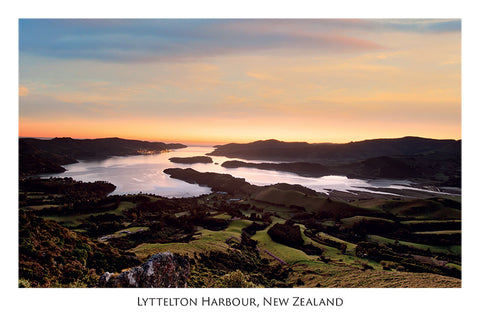 571 - Post Art Postcard - Lyttelton Harbour - Sunrise