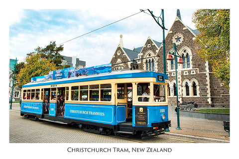 572 - Post Art Postcard - Christchurch Blue Tram - Arts Centre