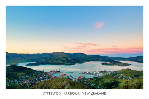 573 - Post Art Postcard - Lyttelton Harbour - Sunrise from Gondola