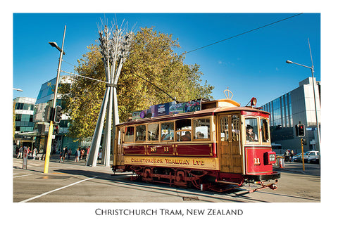 575 - Post Art Postcard - Christchurch Red Tram