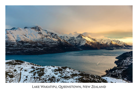 593 - Postcard - Winter view from Queenstown Hill