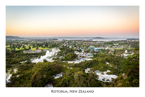 595 - Post Art Postcard - Rotorua from Pohaturoa Lookout