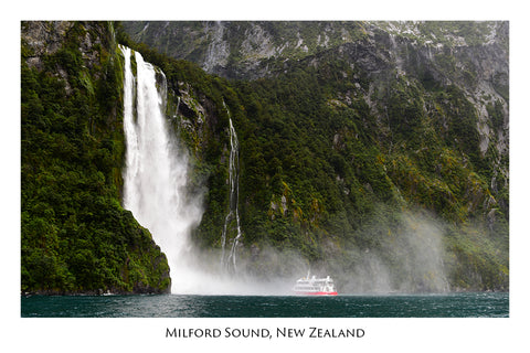 601 - Post Art Postcard - Milford Sound boat and waterfall