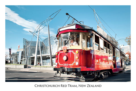701 - Postcard - Christchurch Red Tram - Art Gallery