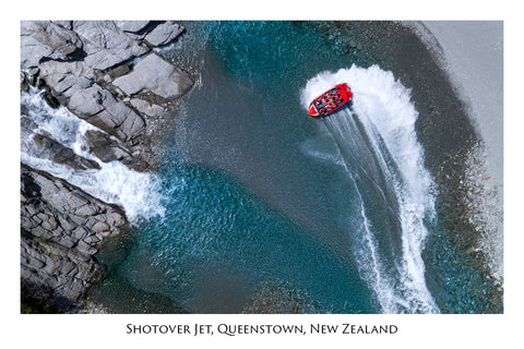 727 - Post Art Postcard - Shotover Jet Aerial