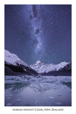738 - Post Art Postcard - Aoraki Mount Cook Milky Way
