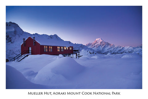 739 - Post Art Postcard - Mueller Hut Aoraki Mount Cook