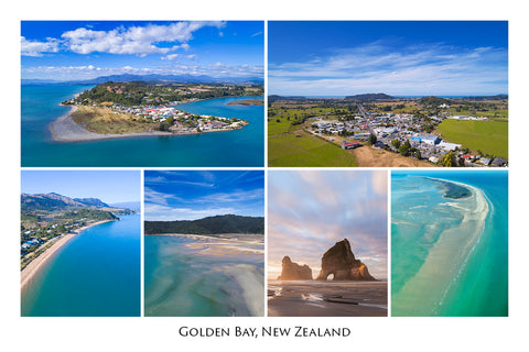 755 - Post Art Postcard - Golden Bay Composite