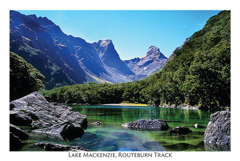 76 - Post Art Postcard - Lake Mackenzie, Routeburn