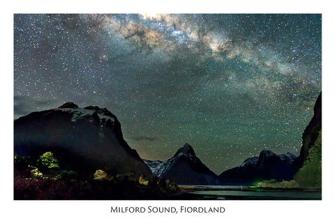 97 - Post Art Postcard - Mitre Peak & Milky Way
