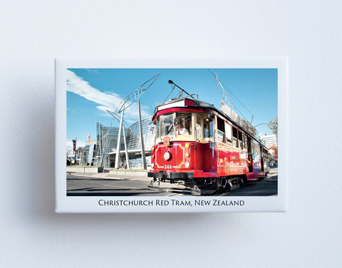 FM0064 - Post Art Magnet - Christchurch Red Tram and Art Gallery
