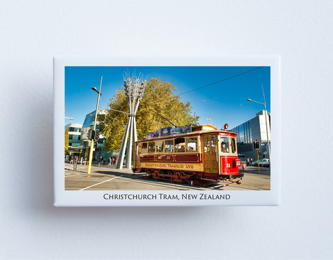 FM0065 - Post Art Magnet - Christchurch Red Tram Hereford Street