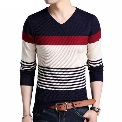 Striped V-Neck Sweater - IVEgoods