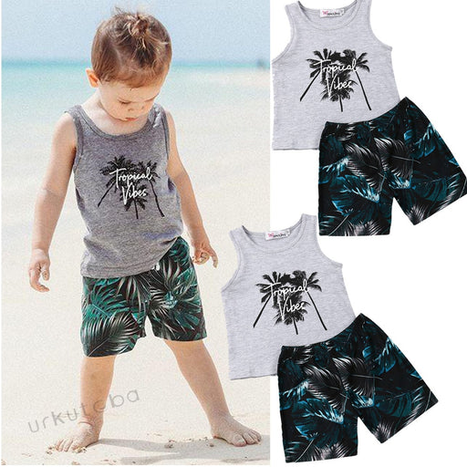 Sleeveless Vest Tops Print Short Pants 2Pcs Outfit Set - IVEgoods