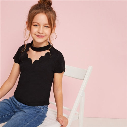 Scalloped Choker Neck Ribbed  Top - IVEgoods