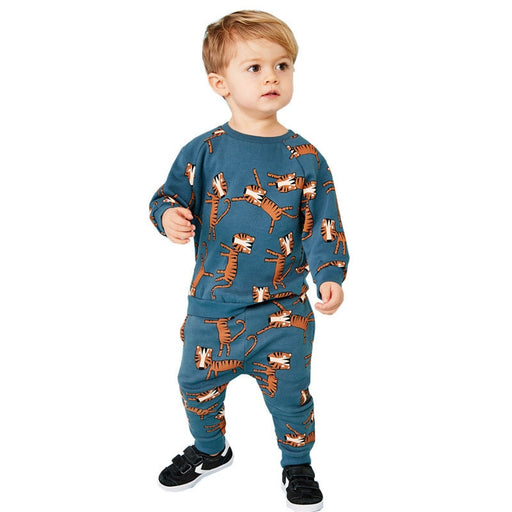 Tiger Printed Cotton Long Sleeve Shirt Pant Set - IVEgoods