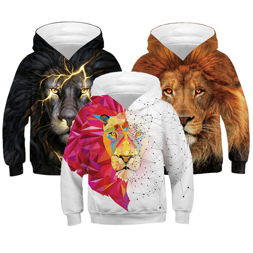 3D Print Lion Boys Hooded Sweatshirt - IVEgoods