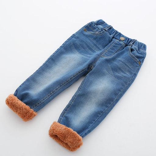 Casual letters label thick velvet denim pants - IVEgoods