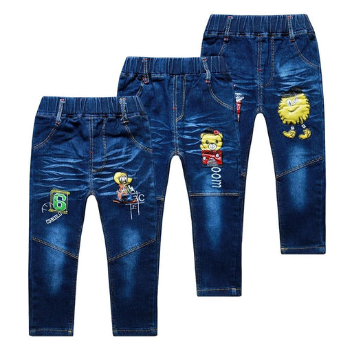 Baby Boys Cartoon Embroidery Jeans - IVEgoods