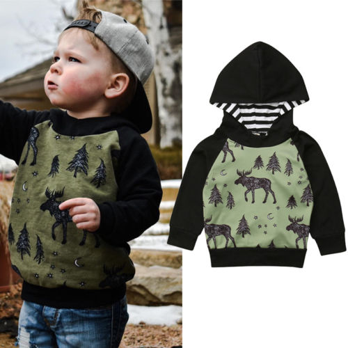 Elk Forest Print Hooded Sweatshirt - IVEgoods