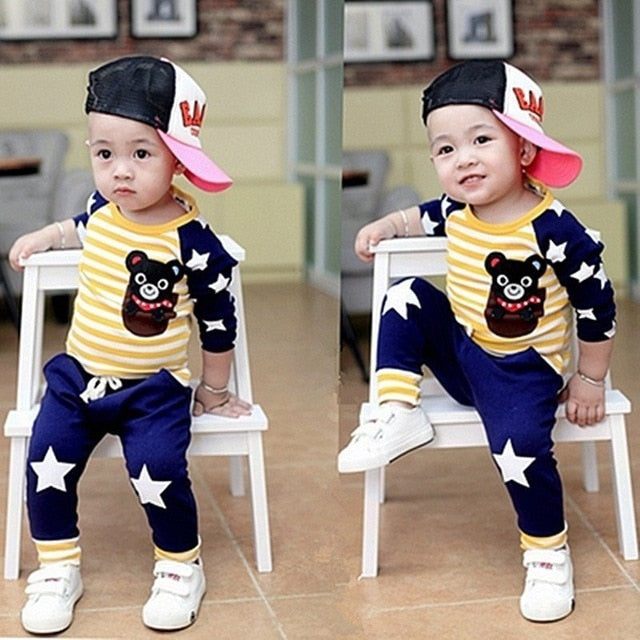 Long Sleeves Leisure T-Shirt+ Pant 2pcs Clothes Set - IVEgoods