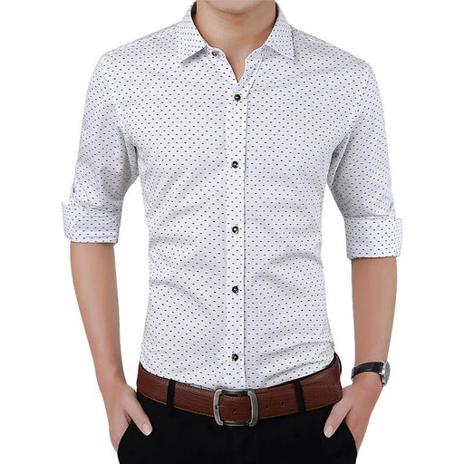 Polka Dot Slim Fit Long Sleeve Shirt - IVEgoods