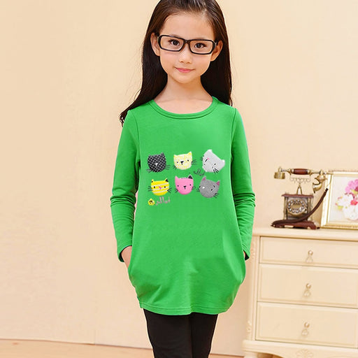 Cat Pattern Cotton Long Sleeves T-Shirt - IVEgoods