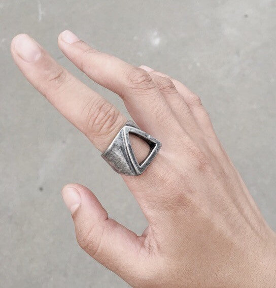 Minimalist Hollow Triangle Stainless Ring