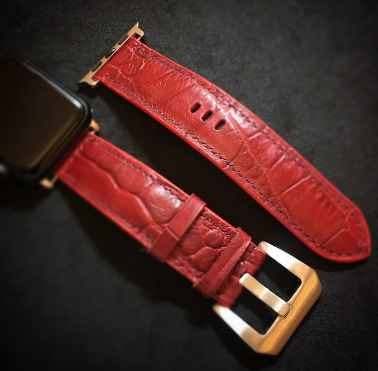 Craftsman Select - Stamp crocodile leather Watch strap (Red)